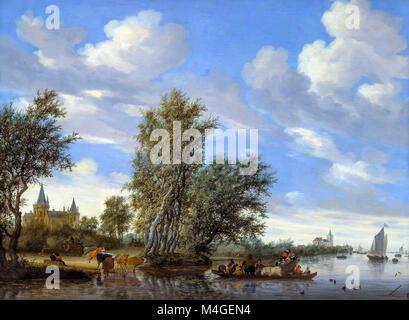River Landscape with Ferry, Salomon van Ruysdael, 1649, National Gallery of Art, Washington DC, USA, North America - Stock Photo
