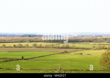 Beautiful countryside in Oxfordshire, UK on a Winter's sunny day - Stock Photo