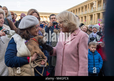 "The Duchess of Cornwall meets Jackie Harrison and her Border Terrier ""Spike"" after her visit to the Piece - Stock Photo"