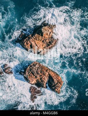An aerial view of California Coastal Rocks - Stock Photo