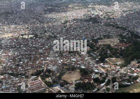 Aerial view of Stone Town, Zanzibar, Tanzania - Stock Photo