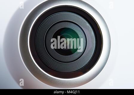 360 degree camera lens close up isolated on white background - Stock Photo