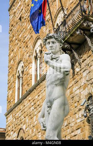 Michelangelo's David in Piazza della Signoria, Florence, Italy - Stock Photo