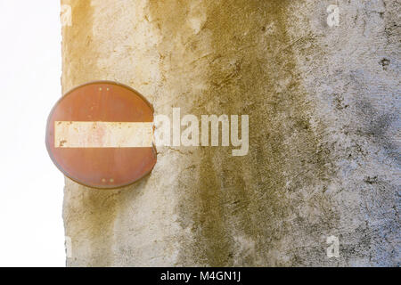 Rusty No entry sign - Stock Photo