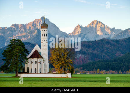 Beautiful view St. Coloman church in Oberbayern, Bavaria, Germany - Stock Photo