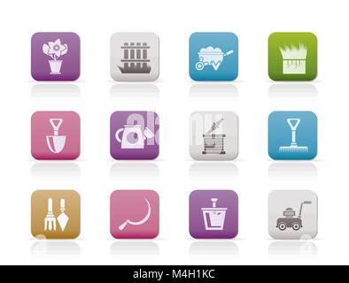 Garden and gardening tools icons - vector icon set - Stock Photo