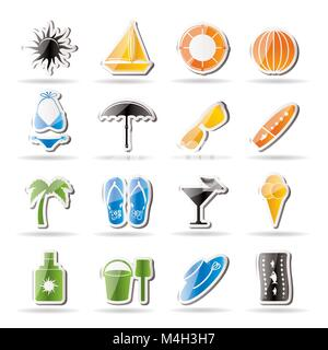 Simple Summer and Holiday Icons - Vector Icon Set - Stock Photo