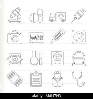 medical, hospital and health care icons - vector icon set - Stock Photo