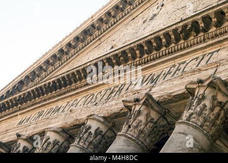 close up of the Pantheon pediment with latin inscription - Stock Photo