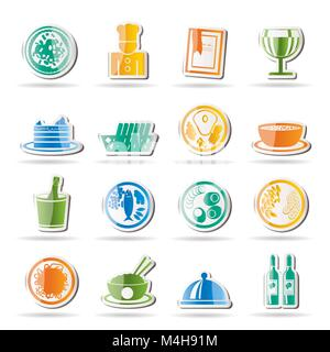 Restaurant, food and drink icons - vector icon set - Stock Photo