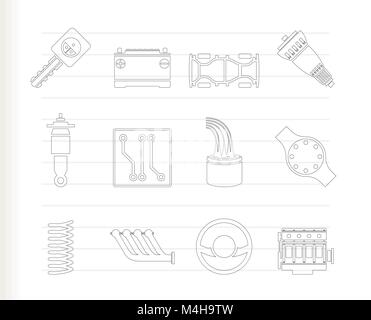 Realistic Car Parts and Services icons - Vector Icon Set 2 - Stock Photo