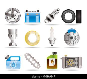 Realistic Car Parts and Services icons - Vector Icon Set 5 - Stock Photo