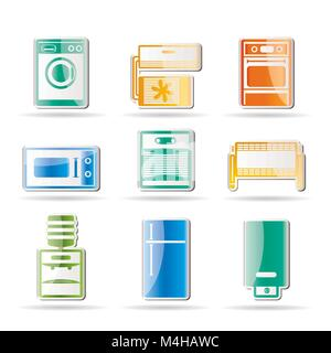 Home electronics and equipment icons - vector icon set - Stock Photo