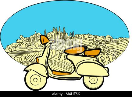 Vineyard travel icon with scooter. Hand-drawn sketches in beautiful outlines and colors. Modern vector illustration. - Stock Photo