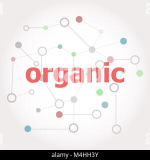 Text Organic. Marketing concept . Connected lines with dots. - Stock Photo