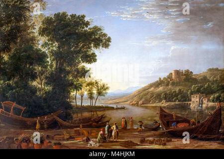 Landscape with Merchants, Claude Lorrain, circa 1630, National Gallery of Art, Washington DC, USA, North America - Stock Photo