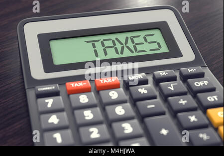 Calculator with the word TAXES on the display. Tax calculation concept. 3D rendering - Stock Photo