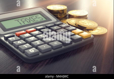 Calculator with the word TAXES on the display and golden coins and sun flare in the background. Income Tax concept. - Stock Photo