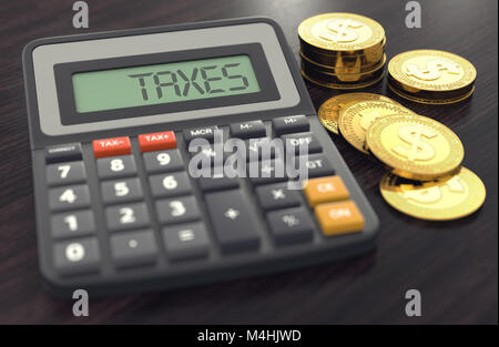 Calculator with the word TAXES on the display and golden coins next to it. Calculating Taxes concept. 3D rendering - Stock Photo