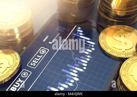 Smart phone with Dollar trading chart on-screen among piles of golden Dollar coins in blurry close-up shot. Dollar - Stock Photo