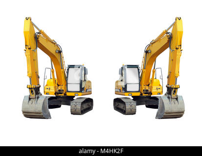 two excavators isolated on the white background - Stock Photo