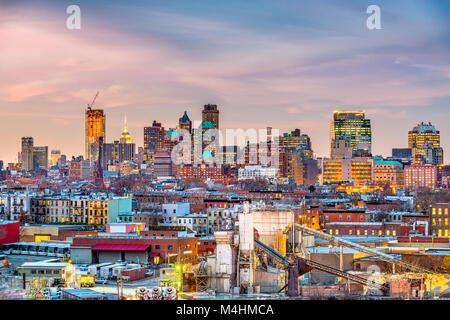 Brooklyn, New York, USA skyline with industrial areas at dusk. - Stock Photo