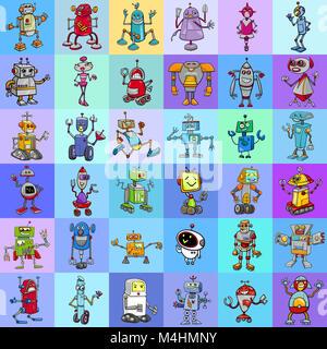 decorative pattern design with robots - Stock Photo