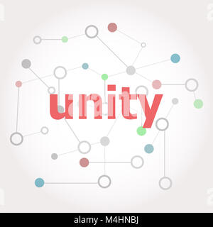 Text Unity. Social concept . Connected lines with dots. - Stock Photo