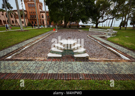 Filled-in pool at the estate of John and Mable Ringling, Ca D'Zan - Stock Photo