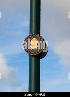 signpost / way marker on lamppost in Prestatyn North Wales  for the Offas Dyke long distance footpath  to Chepstow - Stock Photo