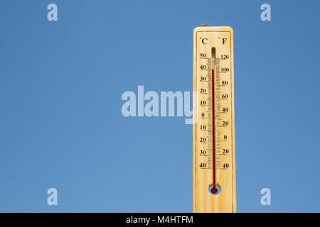 Mercury thermometer Summer heat - Stock Photo