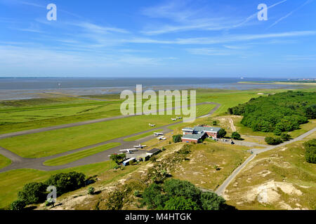 View of the airport, Norderney, East Frisian Islands, North Sea, Lower Saxony, Germany - Stock Photo