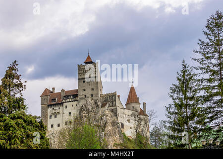 A view of the scary Bran Castle, Brasov County, Romania - Stock Photo