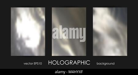 Set of Trendy Holographic Backgrounds for Cover, Flyer, Brochure, Poster, Wedding Invitation, Wallpaper, Backdrop, - Stock Photo