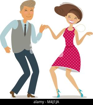 Happy couple dancing dance twist. Cartoon vector illustration in flat style - Stock Photo