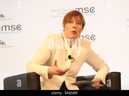 Munich, Germany. 15th Feb, 2018. Kersti Kaljulaid talking about AI. Today the first panel of the Munich Security - Stock Photo