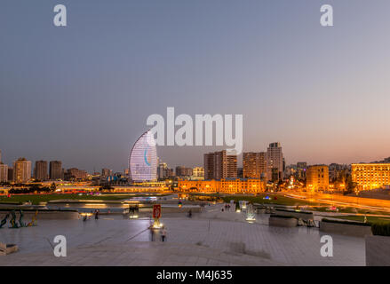 Night view of Baku Azerbaijan during sunset - Stock Photo