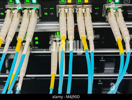 Fiber optic light waveguide on a switch - Stock Photo