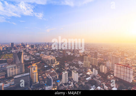 The stunning panoramic view of Bangkok, the capital and most populous city of the kingdom of Thailand. Amazing cityscape - Stock Photo
