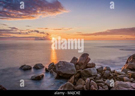 Indian Ocean Sunset, The Seychelles - Stock Photo