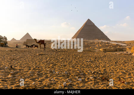 Pyramids, Giza, Egypt, North Africa - Stock Photo