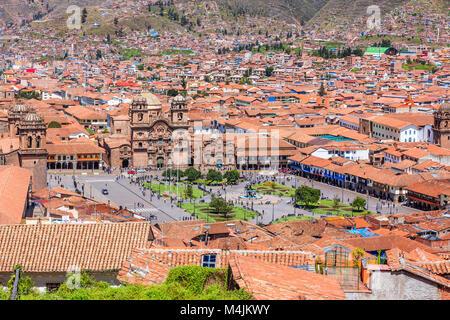 Cusco, Peru the historic capital of the Inca Empire. Plaza de Armas - Stock Photo