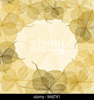 Yellow skeleton leaves frame - Stock Photo