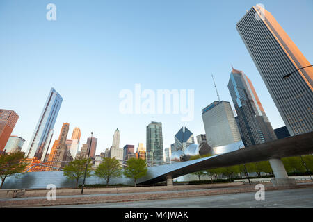 Chicago, Illinois, United States - Michigan Avenue skyline and BP Pedestrian Bridge in Chicago, Illinois, USA - Stock Photo