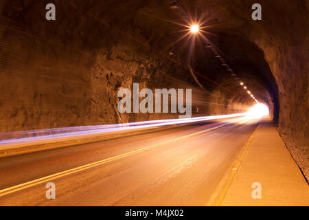 Traffic on a tunnel in Chile - Stock Photo
