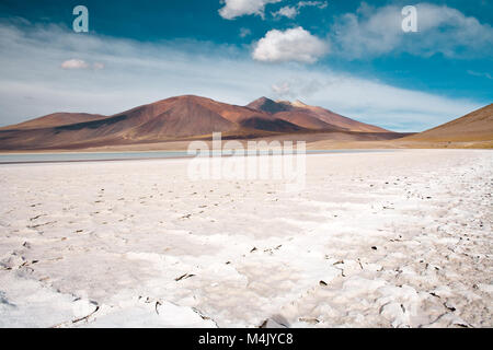 Tuyajto lagoon and salt lake in the Altiplano (high Andean plateau) over 4000 meters over the sea level with salt - Stock Photo