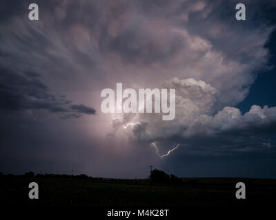 Thunderstorm near Stamford, Nebraska, 21 June 2017 - Stock Photo