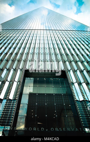NEW YORK CITY, NEW YORK - JUNE 10, 2017: View of One World Trade Center at the observatory entrance looking upwards. - Stock Photo