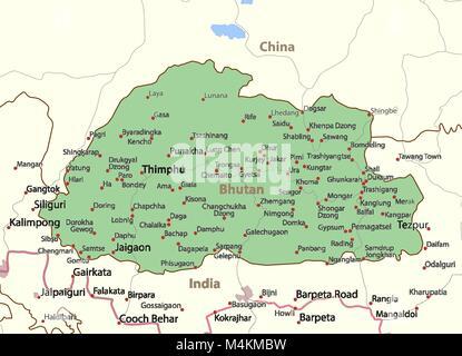 Vector map of Bhutan country Stock Photo 43968290 Alamy
