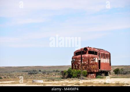 Old and rusty Ghan locomotive at Marree station, South Australia. - Stock Photo
